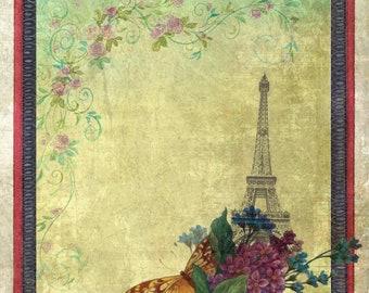 Eiffel Tower Lilac Collage Artcard