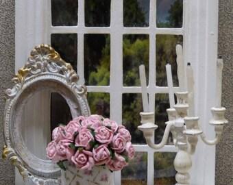 """Ramo de papel rosas miniatura en el estilo """"Shabby Chic"""" accesorio - escala 1: 12 - de decoración para la casa de muñecas miniatura"""