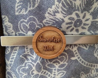 Superhero Dad Tie clip, father's day gift, gift for him, mens gift, wooden tie clip, steel tie clip, personalised gift, personalised