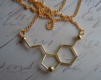 Biolojewelry - Gold Neurotransmitter Serotonin Necklace