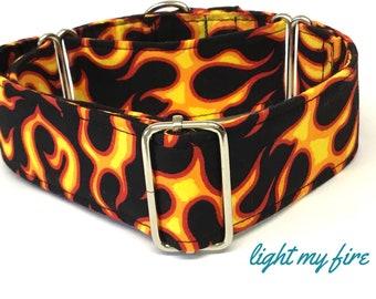 Black and orange flame Martingale Dog  Collar , Greyhound Collar , Whippet Collar , Lurcher Collar , Sighthound Collar Large Breed Collar,