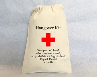 "Hangover Kit, Wedding hangover kit, personalized wedding favors- wedding favor bags, Cotton Drawstring Bags - wedding favors 4""x6"", QTY- 30"