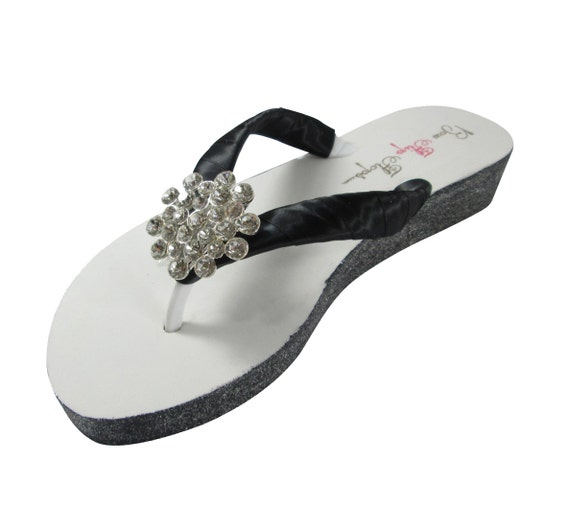 Flip Black Jeweled Occasion Wedge Dancing Heel Wedding Sandals Reception Satin Flops or Special O10rOw