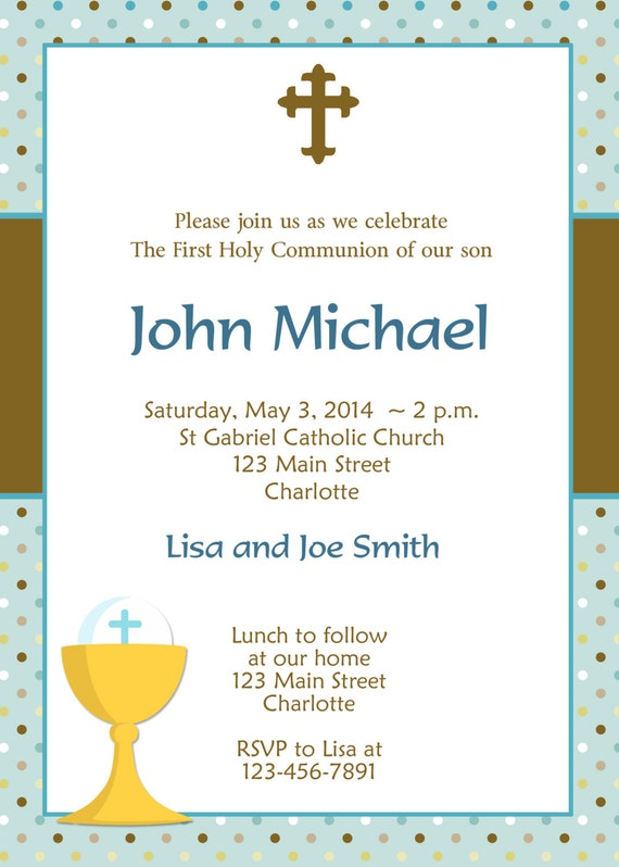 First Holy Communion Invitation Boys First Communion