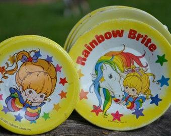 Vintage Rainbow Brite Tin Plate Play Set, 10 Pieces