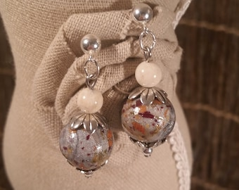 Custom Wedding Memento or Memorial Keepsake made from your Flower Petals or Pet fur or Cremains - FLORAL TIDE Bead EARRINGS