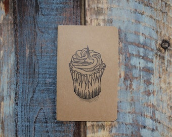 Pocket Notebook Moleskine with Cupcake Line Drawing