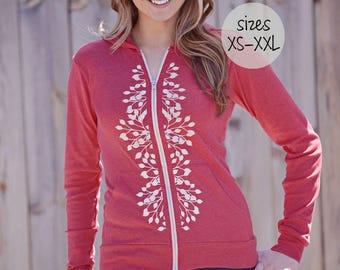 zip front hoodie. cute hoodies. graphic tees for women. women's tops tshirts. silkscreened hoodie. ellembee. trending now. trending. new