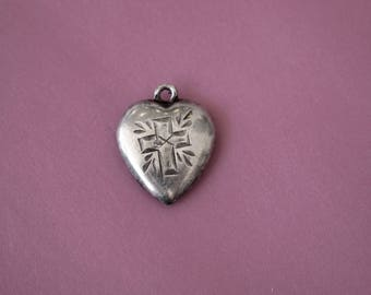 Puffy Heart Charm Sterling Silver Daddy 1943 Pendant Vintage