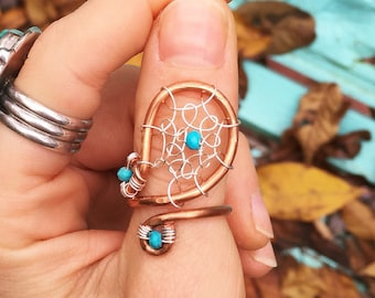 Adjustable Dreamcatcher Ring - Wire wrapped & crocheted statement ring - Any color - Any gemstone