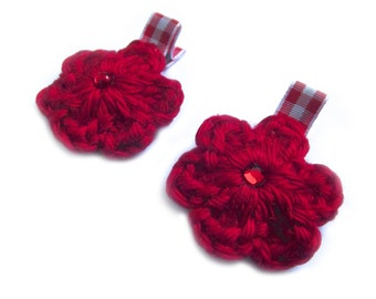 CLEARANCE Red Hair Clips Red Crochet Flower Hair Clips Red Gingham Hair Clips Red Flower Clips Picnic Hair Clips Spring Hair Clips Summer