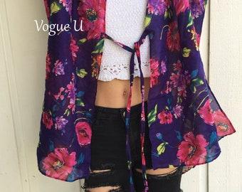 ENCHANTED BLOOM Cover Up Kimono,Beach Cover Up,Boho Kimono,Bohemian Kimono,Summer Cardigan,Light Kimono,Short Kimono