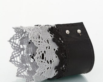 Black lace  leather cuff,bracelet with grey,black lace, metal fittings, goth, victorian, mother's day,Easter,gift for her