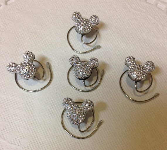 MOUSE EARS Hair Swirls-Disney Inspired Wedding-Silvertone Acrylic-Hidden Mickey-Hair Spins-Bridal Party Accessory