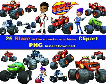 25X Blaze and the monster machines clipart png - printable Digital Clipart Graphic Instant Download