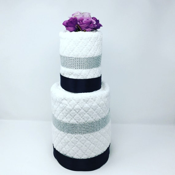 Two Tier Wedding Towel Cake gift set,  Bridal Shower cake, Anniversaries, weddings, engagement parties, bridal showers, housewarming parties