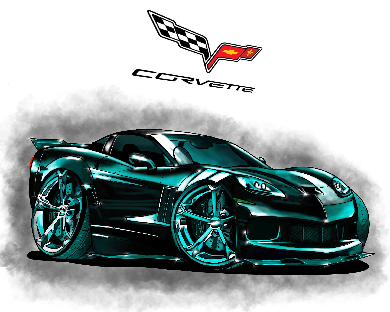 Chevrolet Corvette Z06 historieta dibujo Digital descargable
