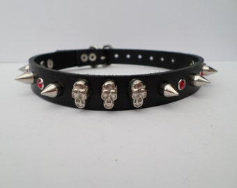 leather spiked gothic collar 10mm spikes,skulls and red rhinestones