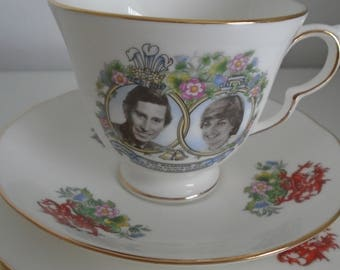 Vintage Queen Anne Royal Wedding Bone China Cup, Saucer, Plate Trio Set, Royal Marriage Prince Charles Diana