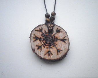Icelandic Bindrune aegishjalmur Pendant Necklace with Tigereye