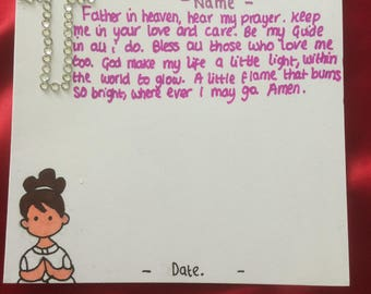 Girl's first holy communion card