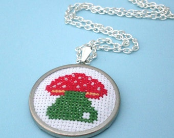 Embroidered Mushroom Necklace - Silver, Red, Green