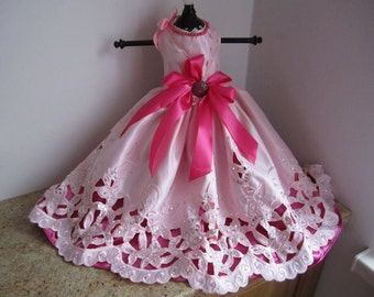 Dog Dress  Pink Satin Eyelet
