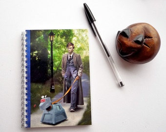 Handmade Doctor Who K9 - illustrated, laminated, and notebook