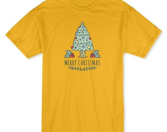 Merry Christmas Pine Tree Graphic  Men's Gold T-shirt