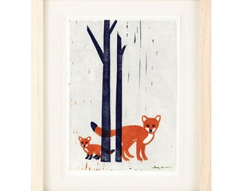 FOXES Linocut Reproduction Art Print: 4 x 6, 5 x 7