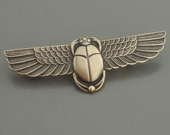 Vintage Brooch - Art Deco jewelry - Egyptian jewelry - Scarab jewelry - Vintage Brass jewelry - handmade jewelry
