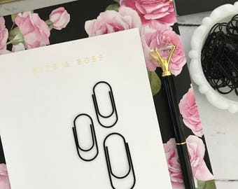 Mini Wide Black Paperclips