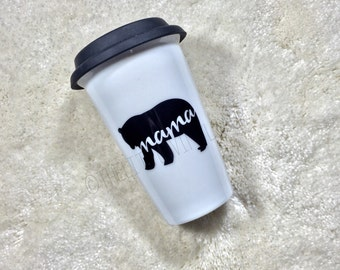Mama Bear 11oz Ceramic Travel Mug with black silicone lid