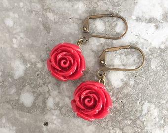 Red Rose Lever Back Earrings