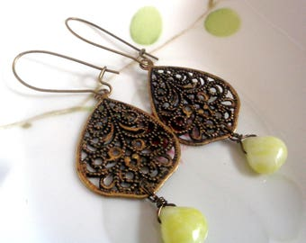 Filigree Leaf Earrings Leaves Earrings, Yellow Earrings Agate Earrings Lemon Drop Earrings Bohemian Earrings Boho Earrings Dangle Earrings