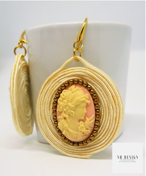 Summer soutache earrings with cammeo