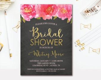 Chalkboard Floral Bridal Shower Invitation Pink & Gold - Wedding Shower Printable Invite