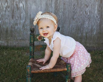 Handmade pink polka dot lace trim cotton skirt for infants, toddlers and young girls