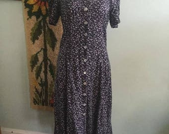 Vintage 90s grunge dark blue floral boho dress size medium
