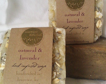 Vegan Soap, Lavender Oatmeal made with Essential Oils, Handcrafted, Organic Herbs