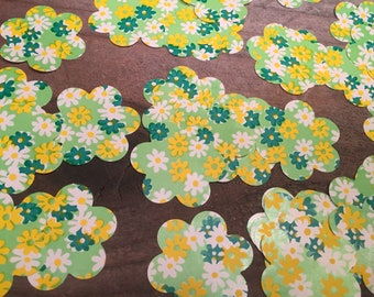 Flower Confetti Vintage Wrapping Paper Wedding Party 50 Flowers Table Decor Party Decor Journals Punched Flowers Party Confetti Bridal Decor