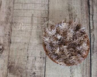 Digital Newborn Prop/Wood Bowl with mulit color fur/ Newborn Backdrop/ Brown/Tan/Wood Floordrop /DIGITAL DOWNLOAD