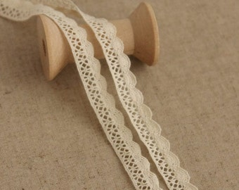 5 Yds Cream Color Cotton Lace Edge 0.4 inch wide