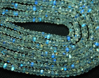 Gems Quality Strand, 14 Inches Strand, AAA Gems Fire Moonstone  Faceted Rondelles 3.5-4mm