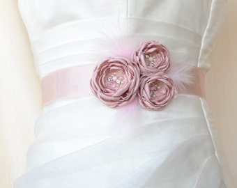 Pink Bridal Belt, Pink Bridal Sash, Floral Bridal Belt, Sash belt, Blush Bridal Belt, Flower Wedding Sash, Flower Wedding Dress Belt