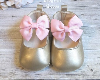 Gold Baby Shoes, Pink and Gold Baby Shoes, Pink and Gold First Birthday, Pink and Gold First Birthday Outfit, Pink and Gold Birthday Outfit