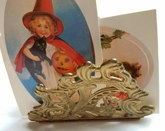 Vintage Teleflora brass letter holder / napkin holder. Brass decor. Brass butterfly. Filigree. Desk accessory. Desk accent
