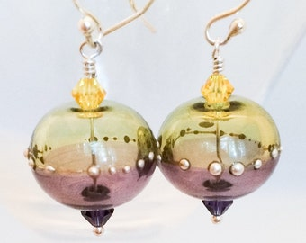 Lampwork Glass Earrings - Purple Gold Glass Earrings - Purple Lampwork Glass Earrings - Yellow Glass Earrings - Dangle Glass Earrings