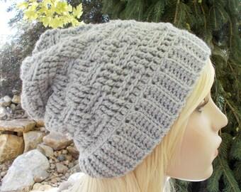 Gray Slouchy Hat, Basket Weave Beanie, Gray Long Beanie, Slouch Beanie, Womens Winter Hat, Teen Hats, Cute Hats, Gift Ideas for Women & Teen