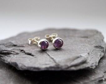 Amethyst Gemstone Sterling Silver Earrings ~ earrings, silver, birthdays, friendship, birthstone, amethyst, gemstone earrings, studs